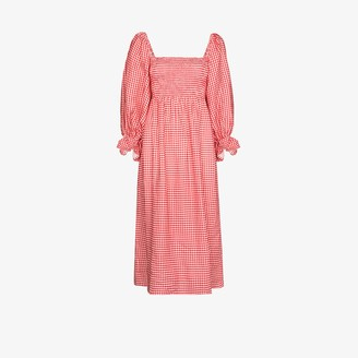 Sleeper Atlanta Gingham Linen Midi Dress