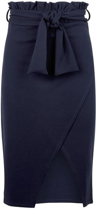 New Look Missfiga High Tie Waist Wrap Midi Skirt