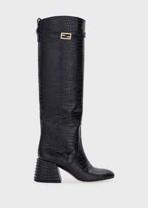 Fendi 60mm Mock-Croc Tall Riding Boots