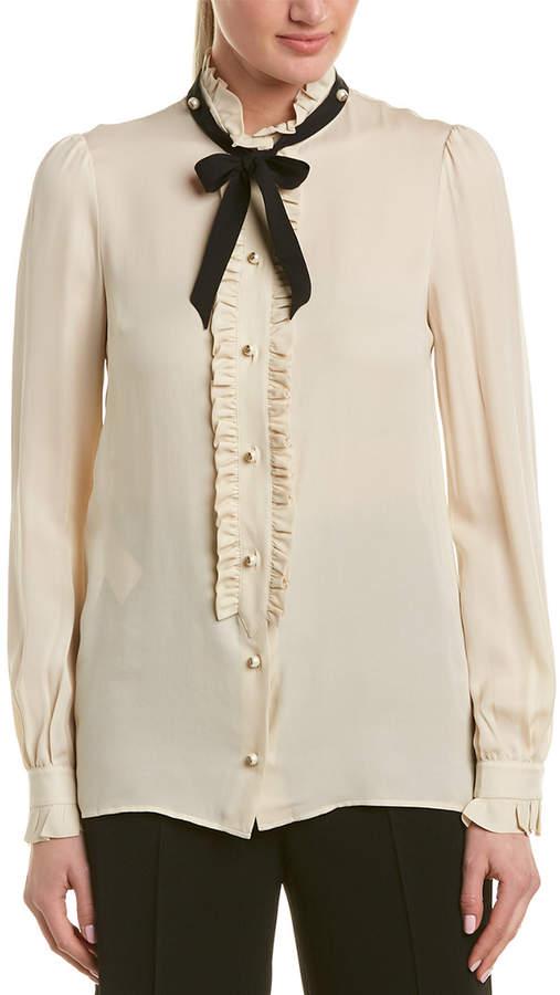 Gucci Ruffle Trim Silk Blouse