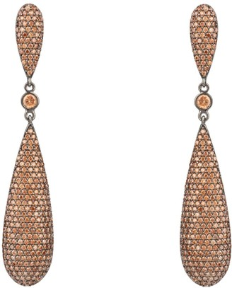 Latelita Coco Long Drop Earrings Oxidised Silver Champagne Cz