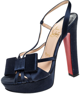 Christian Louboutin Blue Satin Bow Slingback Disco Noeud Platform Sandals Size 36