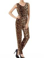 Allegra K Women Elastic Waist Sleeveless Leopard Pattern Jumpsuit XS
