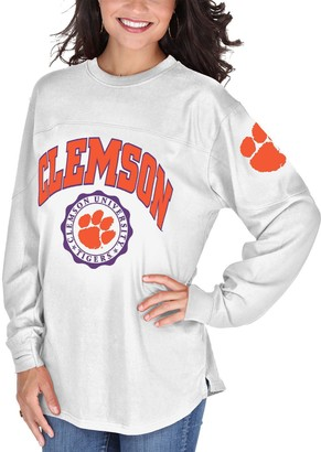 Women's White Clemson Tigers Edith Long Sleeve T-Shirt