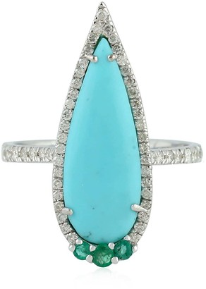 Artisan 18K White Gold Ring With Turquoise Emerald & Pave Diamonds Handmade Jewelry