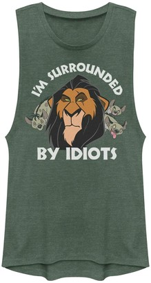 Licensed Character Juniors Lion King Scar Surrounded By Idiots Muscle Shirt