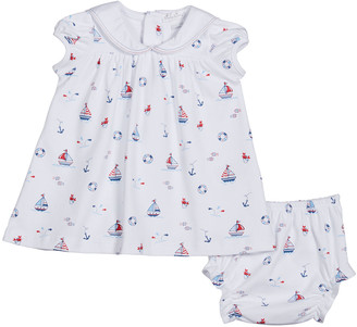 Kissy Kissy Girl's Summer Seas Printed Dress w/ Matching Bloomers, Size 3-24M