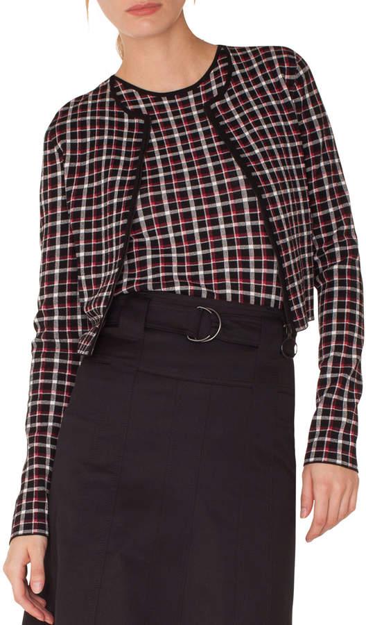 Long-Sleeve Zip-Front Glen Check Knit Bolero