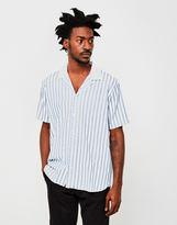 Soulland Cornwall Stripe Revere Collar Shirt Blue