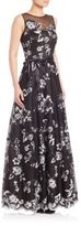Teri Jon Floral Lace Sleeveless Gown