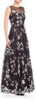 Teri Jon Floral Lace Sleeveless Gown