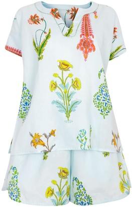 Nologo Chic Botanical Pj Shorts - Pure Cotton -Persian Blue