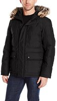 London Fog Men's Carlton Down-Filled Quilted Snorkel Parka with Attached Hood