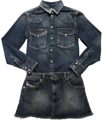 Diesel Stretch Cotton Denim Dress W/ Skirt