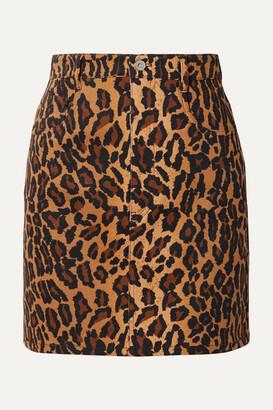 Miu Miu Appliqued Leopard-print Denim Mini Skirt - Brown