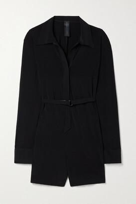 Norma Kamali Belted Stretch-jersey Playsuit - Black