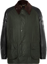 Junya Watanabe - + Barbour Leather And Tweed-trimmed Waxed-cotton Jacket