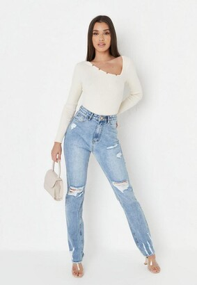 Missguided Recycled Blue Distressed Ladder Hem Straight Jeans