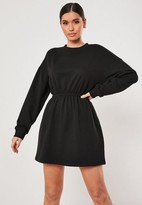 Missguided Black Ruched Waist Sweater Dress