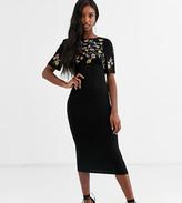 Asos Tall DESIGN Tall embroidered midi dress