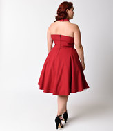 Unique Vintage Plus Size 1950s Style Red Rita Halter Flare Dress