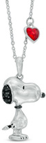 Zales ASPCA® Tender VoicesTM Peanuts® Enhanced Black Diamond Accent Standing Snoopy Pendant in Sterling Silver