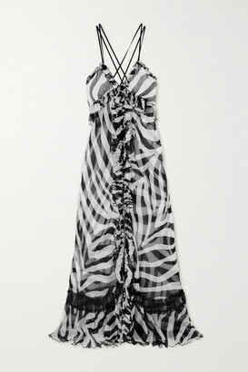 Redemption Ruffled Zebra-print Tulle-paneled Silk-chiffon Maxi Dress - Zebra print
