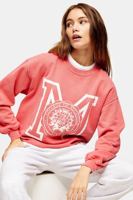 Topshop Womens Red Michigan Print Sweatshirt - Red