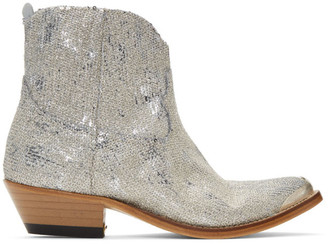 Golden Goose Silver Glitter Young Boots