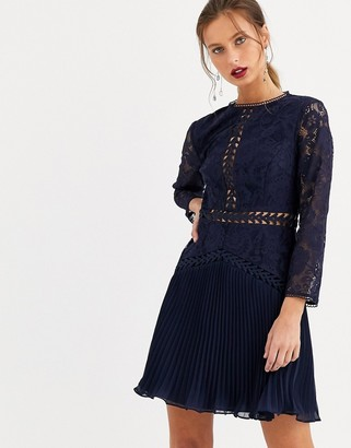 Asos Design DESIGN lace mini dress with trim inserts and pleated skirt-Navy