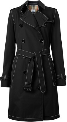 Burberry Contrast Stitch Gabardine Trench Coat