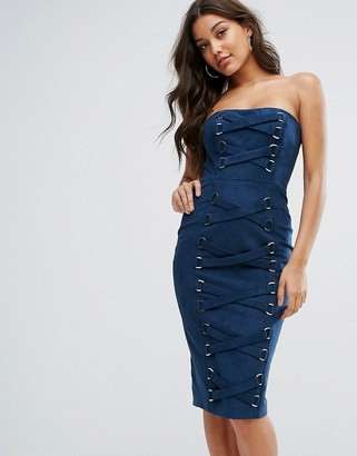 Misha Collection Bandeau Pencil Dress With Corset Lace Up Detail-Navy