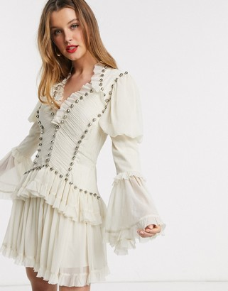 ASOS DESIGN studded chiffon frill mini dress in Cream