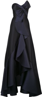 Marchesa cascade drape evening dress