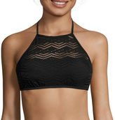 Arizona Mix & Match Black Crochet Halter High-Neck Swim Top