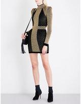 Balmain Turtleneck metallic-knit mini dress