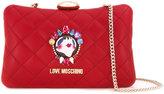 Love Moschino face pin clutch bag - women - Polyurethane - One Size