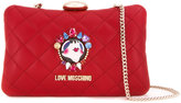Love Moschino face pin clutch bag