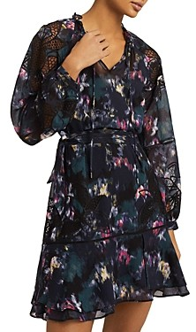 Reiss Kenzie Smudge Floral Embroidered Mini Dress