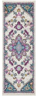 """Bungalow Rose Funches Oriental Shag Blue/Pink Area Rug Rug Size: Runner 2'2"""" x 6'"""