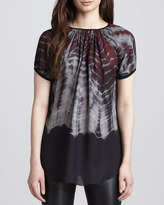 L'Agence Printed Short-Sleeve Blouse