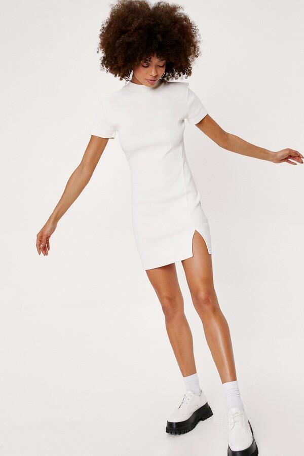 Nasty Gal Womens Ribbed Short Sleeve Bodycon Mini Dress