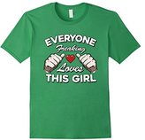 "Women's ""Everyone Freaking Loves This Girl"" Funny Distressed T shirt Large"