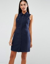 AX Paris Ribbed Sleeveless Shirt Dress With Pocket Detail