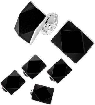 Jan Leslie 6-Piece Sterling Silver Diamond Cut Onyx Rectangle Cufflinks & Stud Set