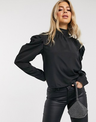 NA-KD puff sleeve high-neck blouse in black