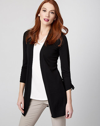 Le Château Shirred Viscose Blend Open-Front Cardigan