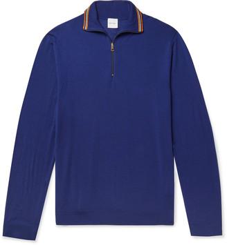 Paul Smith Slim-Fit Stripe-Trimmed Merino Wool Half-Zip Sweater