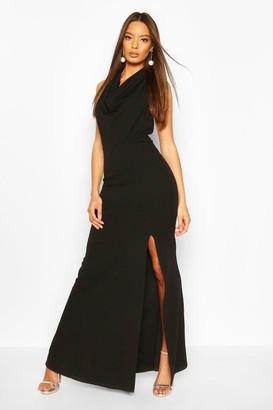 boohoo Cowl Neck Halter High Split Maxi Dress