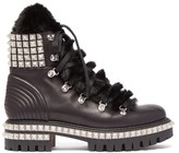 Christian Louboutin Yeti Donna Faux Fur-trim Studded Leather Boots - Womens - Black Silver